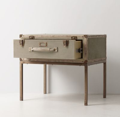 RH TEEN's Glaston Trunk Suitcase Nightstand:The travel-minded trunk puts down roots. Classic steamer styling defines our collection, which offers multiple canvas-lined drawers in a sturdy wood frame bound with distressed leather trim and finished with enduring leather and canvas pulls.
