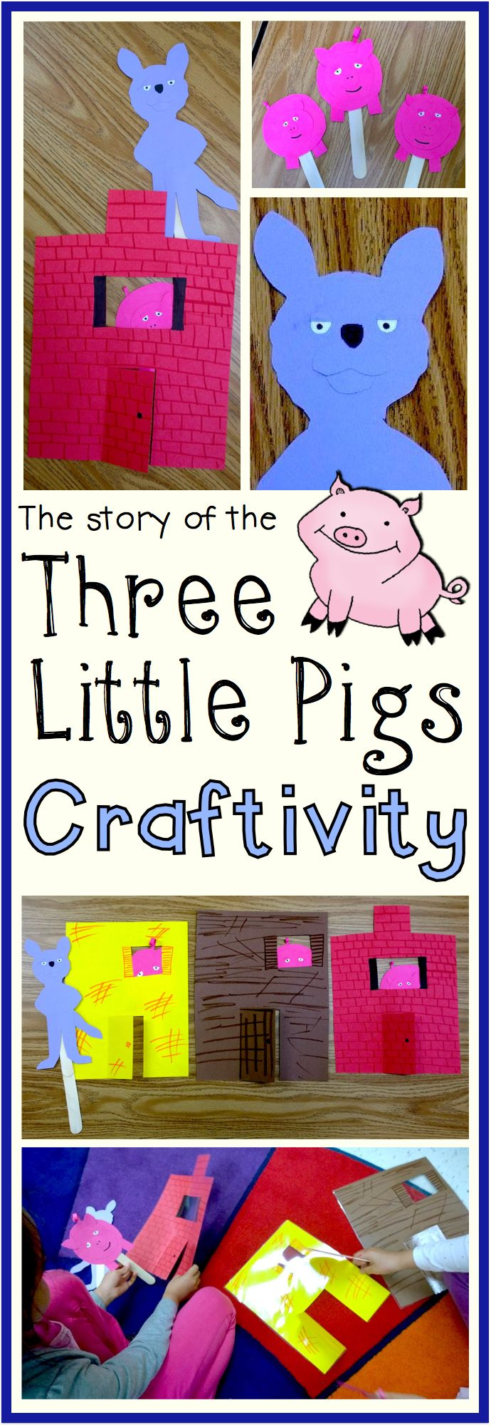 Create your own set of Three Little Pigs retelling puppets with a little inspiration from Kindergarten Nation!