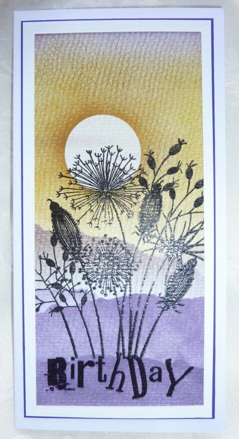 Clarity Stamps word chain stamp with Woodware Going to Seed stamp on watercolour card with distress inks - by Lynne Lee