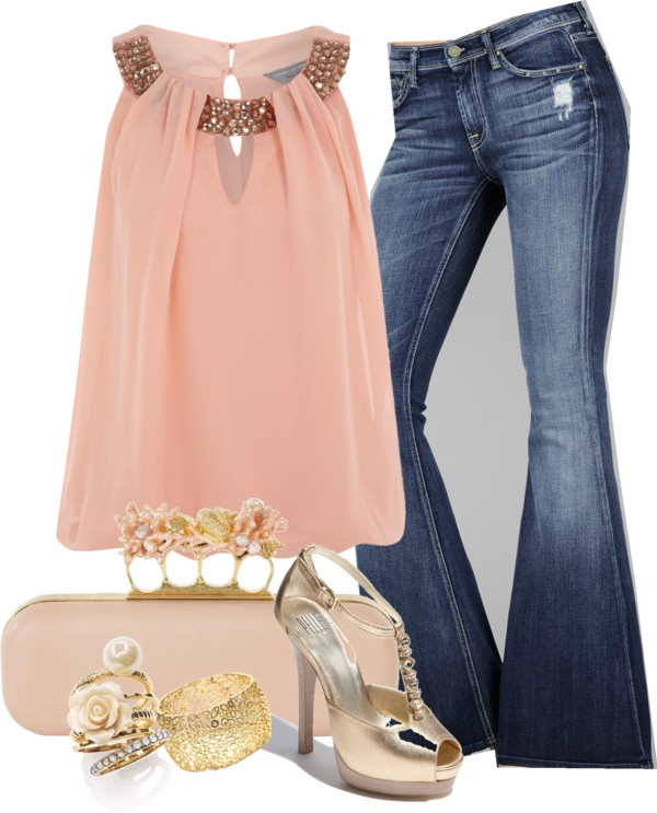 """""""Peach top and Jeans"""" by nichole-menard on Polyvore"""