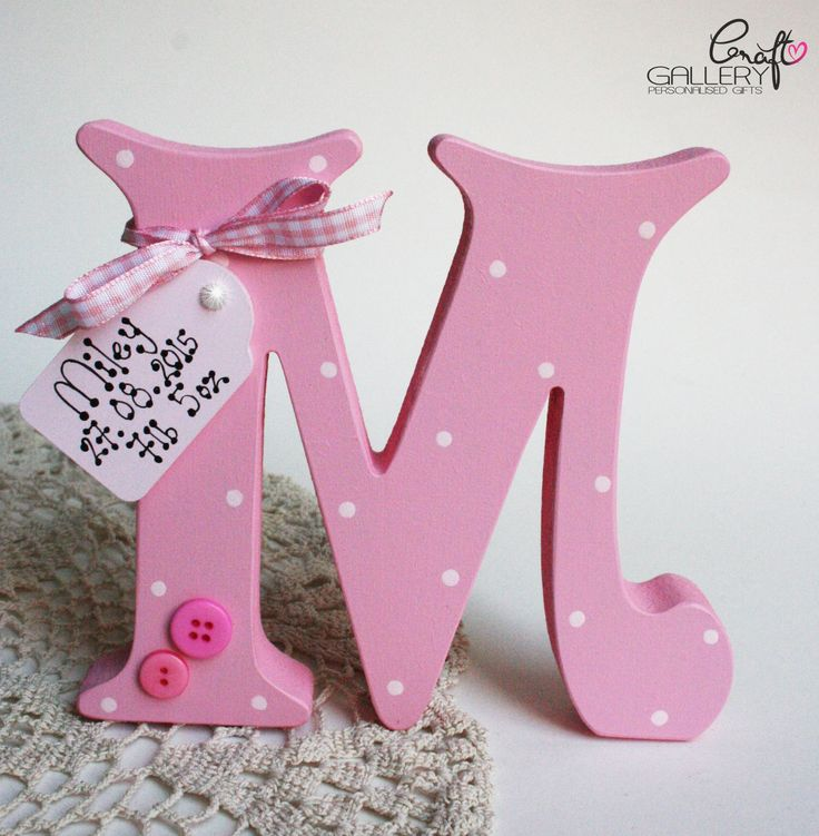 Made by CraftGallery... Handmade Personalised Freestanding letter in pink with pink buttons, Handmade letter, keepsake, personalise gift, personalised decorations, home decor
