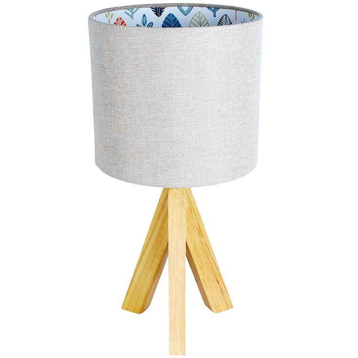 Cosy Skandi Tripod Leaf Print Table Lamp   Dunelm
