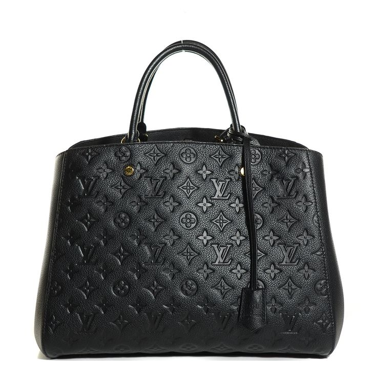 This is an authentic LOUIS VUITTON Empreinte Montaigne GM in Noir Black.  This chic tote is crafted of Louis Vuitton monogram embossed leather in black.  The bag features rolled leather top handles with brass links, an optional leather shoulder strap with brass clasps, and a broad open top.  This interior is a partitioned gray-striped fabric interior with a central zipper compartment and plenty of space for all of your everyday necessities with the luxury and style of Louis Vuitton!