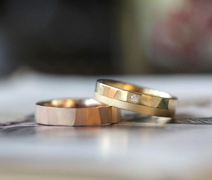 ピンクゴールドとイエローゴールド お色違いでお作りした結婚指輪 [K18YG PG pink gold marriage ring wedding bridal マリッジリング ウェディング ブライダル]