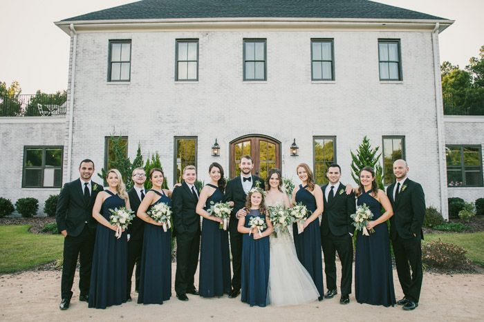 Entire Bridal Party Groomsmen In Black Suits Bridesmaids Dark Navy