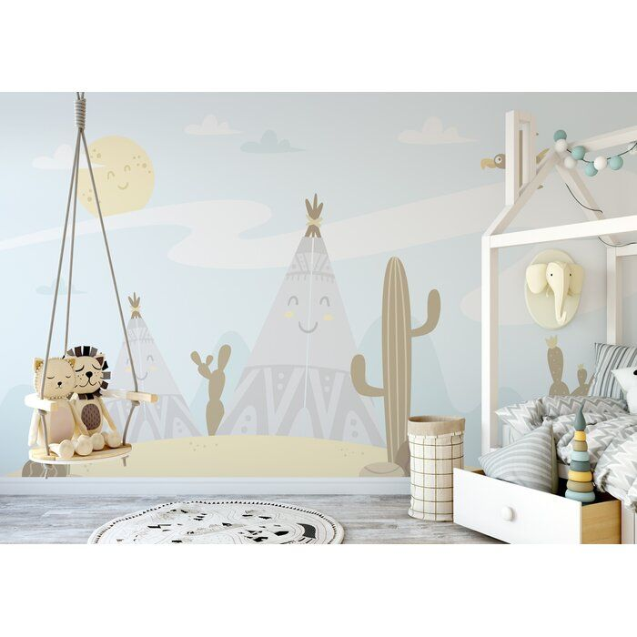 Little Cactus Cartoon Landscape Textile Wallpaper Nursery Wallpaper Nursery Wall Murals Wall Murals