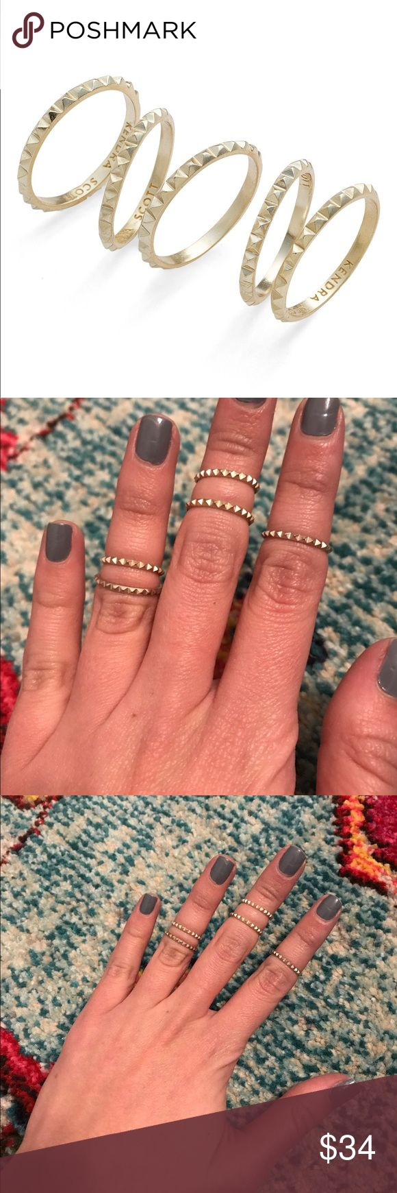 Kendra Scott Tucker Midi Rings Have been gently worn. Part of 2016 spring collection. NO LONGER SOLD. Comes with 5. All different sizes but does not specify sizes when purchased. From photos you can see all the different places it can hit on the finger Kendra Scott Jewelry Rings