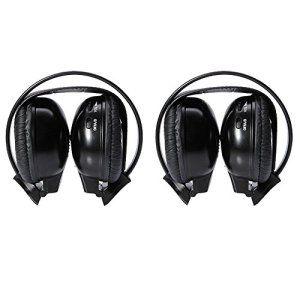 EinCar Paire de casques 2canaux Noir Infrarouge sans fil pour radio de voiture DVD CD TV Lecteur MP3 Suppression du bruit