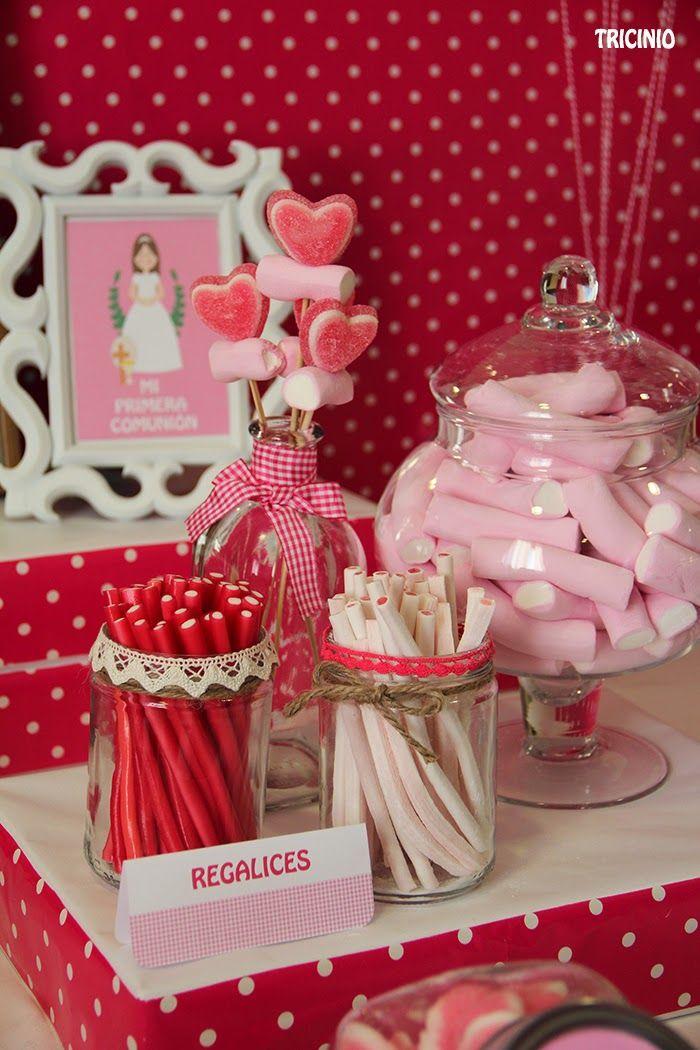La Comunión de Carlota #primera comunion #mesas dulces #sweet table #candybar #chocolate #chuches #dulce #tricinio