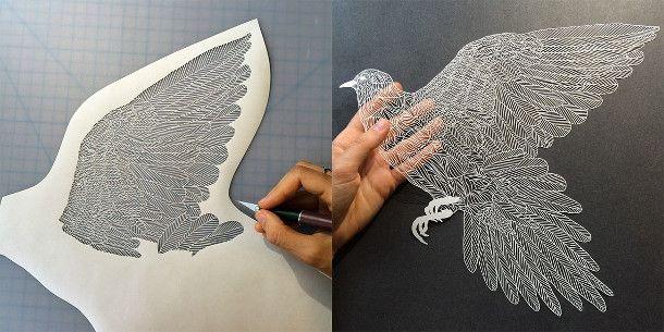 gesneden-papieren-illustraties-6. Papierkunstenaar Maude White snijdt nauwgezette afbeeldingen uit van mensen, bladeren, vogels en andere dieren. In haar composities vind je, als je goed kijkt verborgen scènes en verhalen. Duizenden kleine sneden resulteren in deze prachtige papieren illustraties. Ontdek meer bijzondere papier projecten op EYEspired.