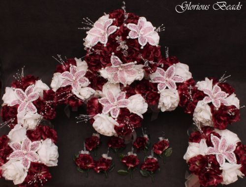 Pink-Wine-BEADED-Flower-Quinceanera-Wedding-Bouquet-16-PC-Set-FREE-BOUTONNIERES