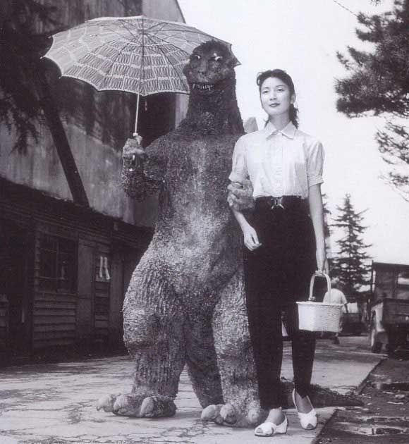 Haruo Nakajima and Momoko Kôchi on the set of Godzilla (Gojira), 1954