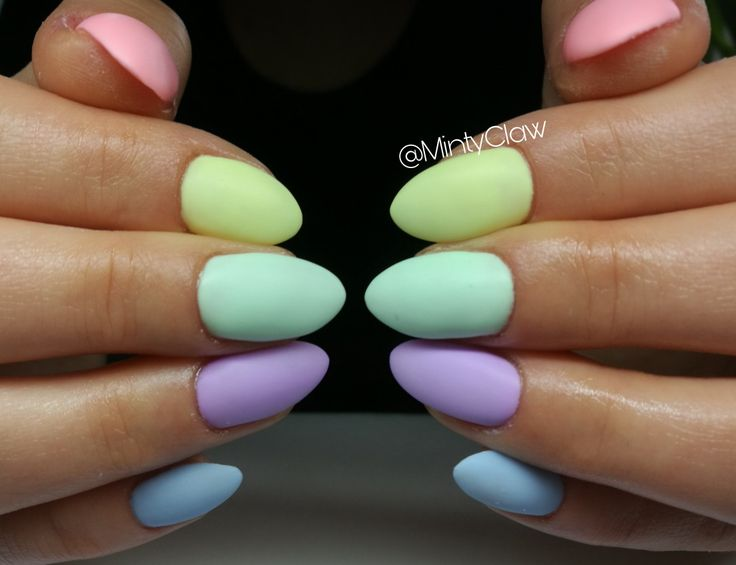 Nails almond colorful spring