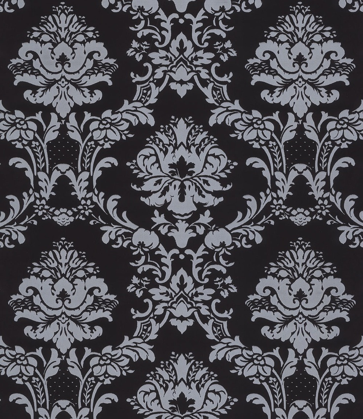 Silver on Black Victorian Stencil Damask Wallpaper ...