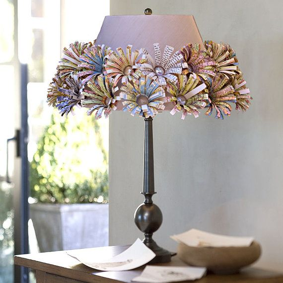 46 best shadylady lampshades sa images on pinterest lampshades cute shade embellished with recycled map flowers aloadofball Choice Image
