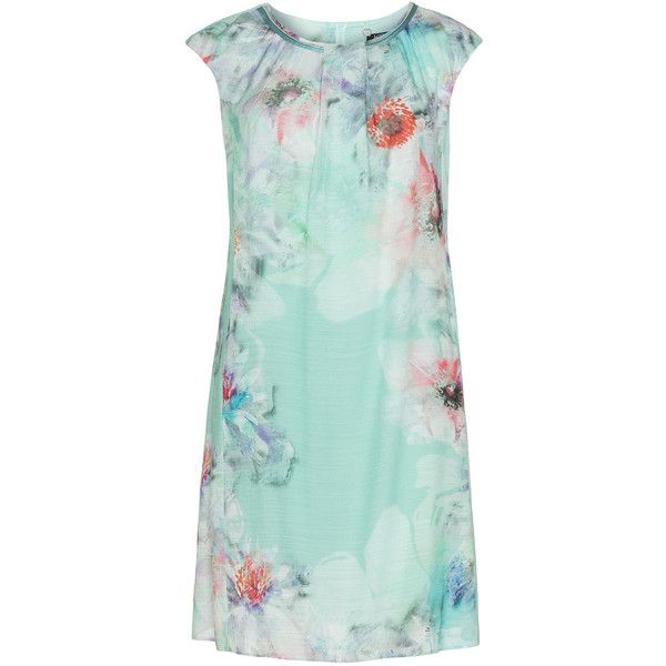 KS Selection Mint / Coral-Orange Plus Size Floral print summer dress (8.500 RUB) ❤ liked on Polyvore featuring dresses, mint, plus size, knee length summer dresses, coral dress, plus size coral dress, mint dress and summer day dresses