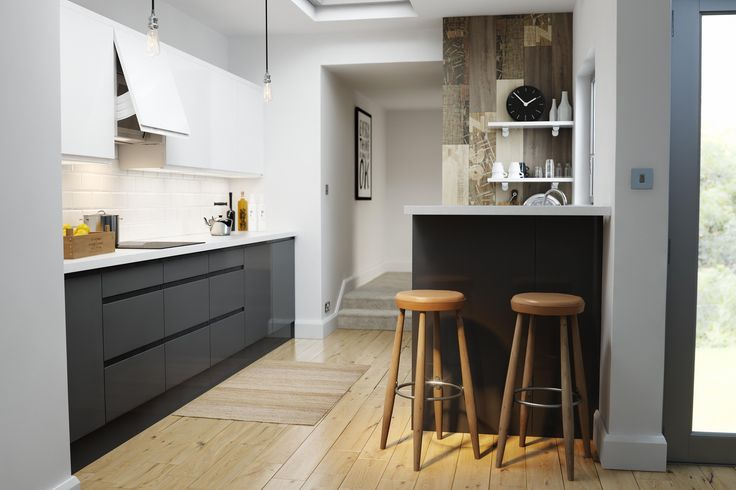 Wren Kitchens - Handleless Charcoal Gloss - You don't need a massive space to make contemporary kitchen design work - this small alley-like kitchen looks ultra modern and sleek with this dark handleless design.