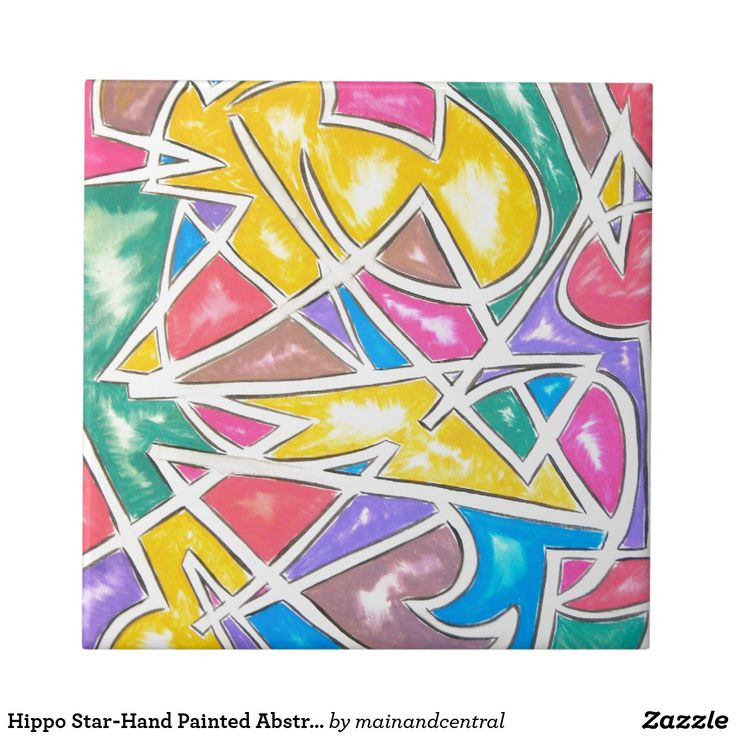 Hippo Star-Whimsical Ceramic Tile with Hand Painted Abstract Geometric Art in Bold Vivid Colors