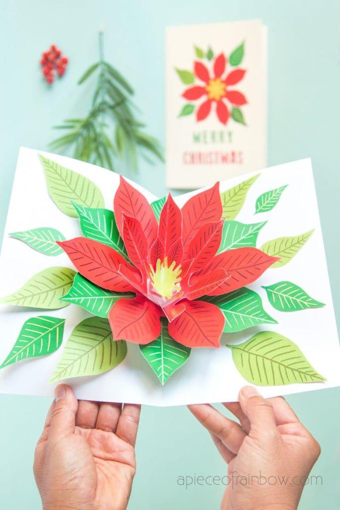 Festive Diy Pop Up Christmas Card Free Template Diy Pop Up Cards Christmas Cards Free Free Printable Christmas Cards