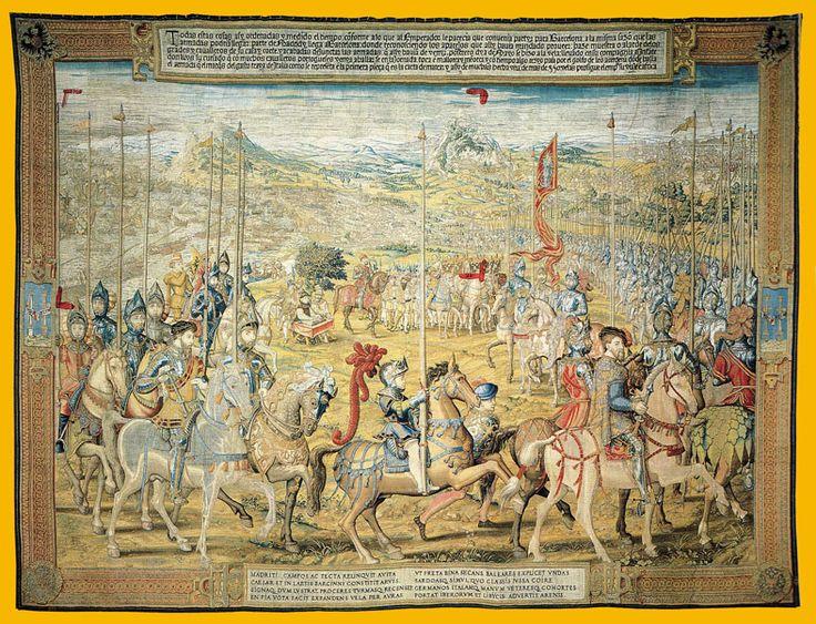 """6."""" LAS JORNADAS DE TÚNEZ"""" - Tapiz 2. Carlos V pasa revista a las tropas antes de embarcar. Al fondo barcelona y Montjuic."""