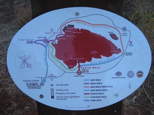 These are the walking trails around Ayers Rock / Uluru.