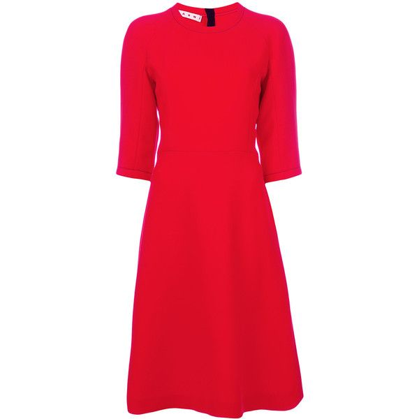 Marni flared shift dress ($1,469) ❤ liked on Polyvore featuring dresses, red, 3/4 sleeve dresses, red shift dress, red circle skirt, circle skirts and red print dress