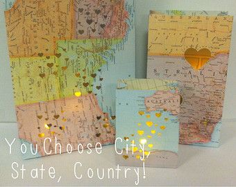Travel Decorations, 3 Map Luminaries, Travel, Travel Themed Wedding, Made to Order, You Choose City, Country or State, Map Luminaries