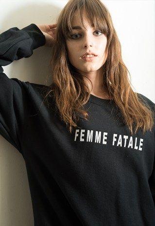 'FEMME FATALE' EMBROIDERED SLOGAN JUMPER/SWEATSHIRT- FANCLUB