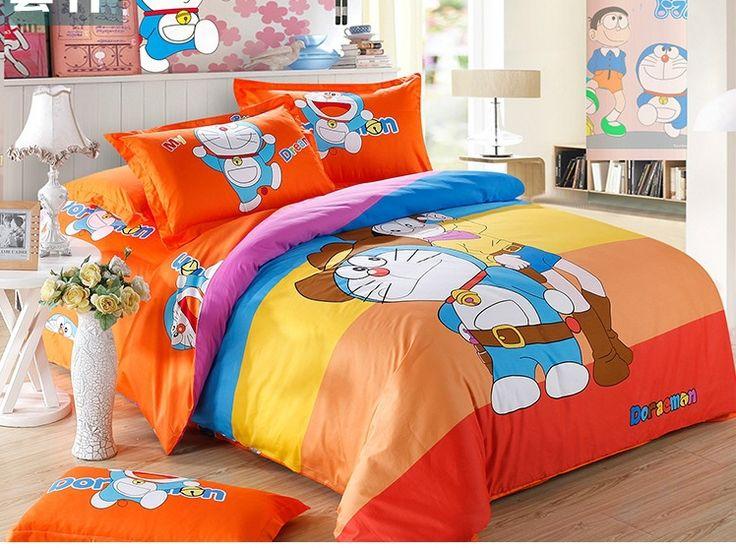 Aliexpress.com: Comprar 100% algodón de color naranja juego de cama 3D Pokonyan niños imprimir bedclothes sistema del lecho 100% boy edredón ropa de cama fija rey de matrimonio de cama de tela de lino fiable proveedores en home accessories LTD.