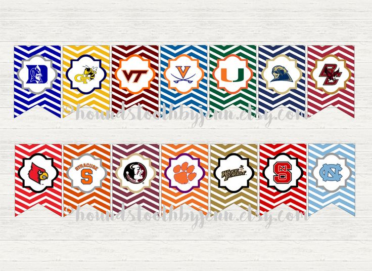ACC Team logo Printables! School digital pennants with chevron zigzag background by HoundstoothbyJenn on Etsy https://www.etsy.com/listing/473981913/acc-team-logo-printables-school-digital