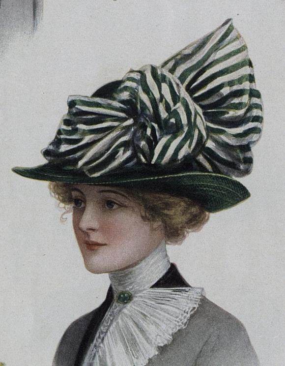 I'm pretty sure this goes with everything in mahhhh armoire....Ladies Home Journal (March, 1912), green straw hat with striped silk bow