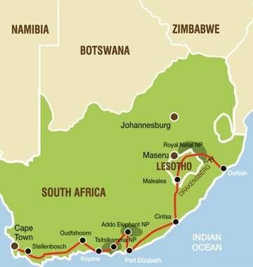 Highlights: Cango Caves, Garden Route, Addo Elephant National Park, Lesotho Pony Trekking, Zulu Nation