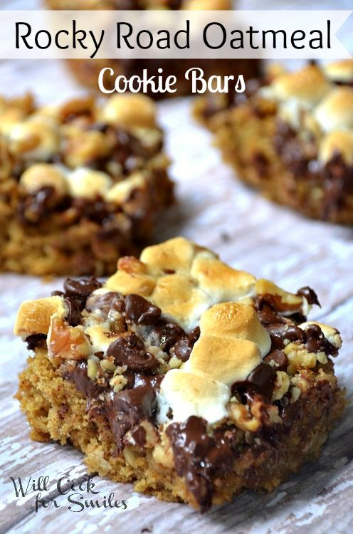 Rocky Road Oatmeal Cookie Bars - Will Cook For Smiles