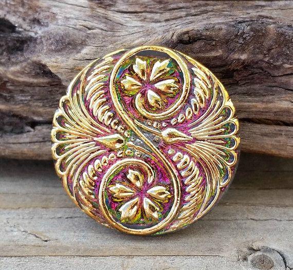Czech Glass Button-Spiral Pink Gold Vitral 32mm BC-118,boho button,fancy glass buttons,pink glass button,pink green button, sewing knitting