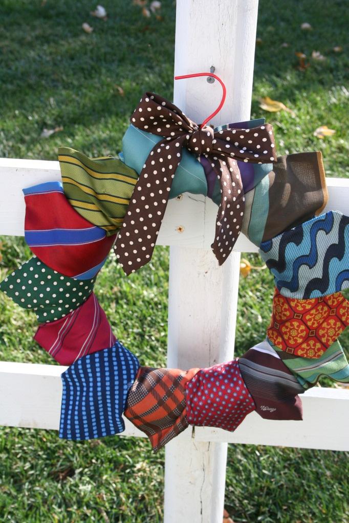 Necktie Wreath.  Recycle your mans old neckties.