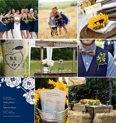 navy blue, gray, and orange wedding ideas | Navy & Yellow Weddings | Navy & Yellow Wedding Accessories