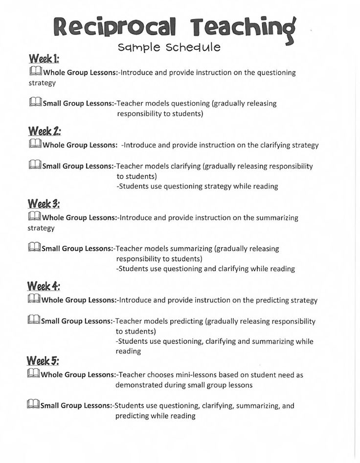 Reciprocal teaching schedule...to introduce concept to students