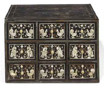AN ANGLO-INDIAN IVORY AND EBONY TABLE CABINET