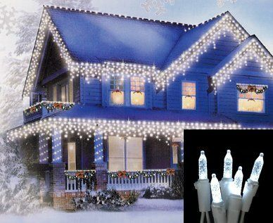 Set of 70 Cool White LED M5 Icicle Christmas Lights - White Wire by Vickerman. Save 34 Off!. $24.99. Set of 70 LED Icicle Christmas LightsItem #X6W3105Features:Color: cool white bulbs / white wireCool white, also referred to as polar white, has a very slight blue tint, it has the look of ice and is used to create a true icy winter scene Number of bulbs on string: 70Bulb size: M5 (mini bulb)Drop lengths alternate between 14, 20, 22 and 25.5 inches longSpacing between drops: 8 inchesS...