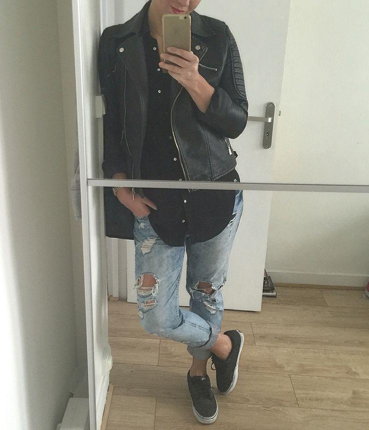 Veste cuir, chemise noire oversize primark, Jean boyfriend stradivarius, vans noires pailletées, sac et montre Michael Kors