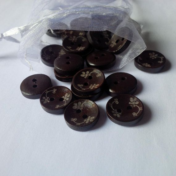 Flower Buttons  Wooden Brown Coffee Color  15 by TradingExchange, $1.10
