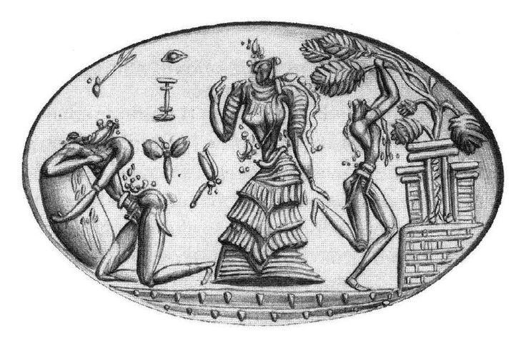 Gli anelli - sigillo in oro massiccio: ritrovato a Phourni, presso Archanes, conservato al Museo Archeologico di Iraklion e risalente al XIV-XII secolo a. C.