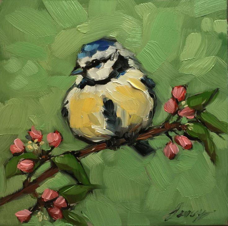 Blue Tit painting Original impressionistic oil by LaveryART