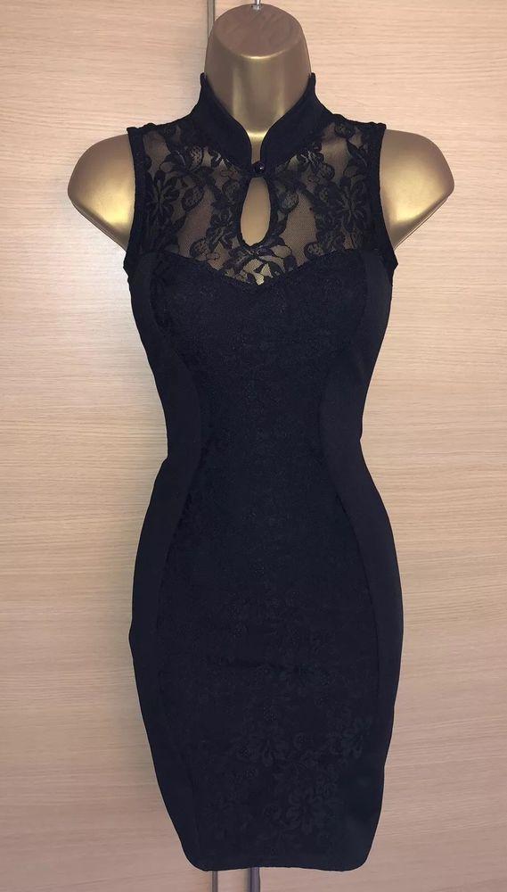 f89a6df3c0 Exquisite Jane Norman Black Lace Oriental Mandarin Bodycon Dress