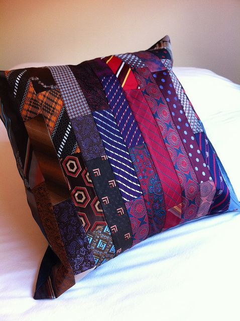 Patchwork necktie cushion by alipink_bags, via Flickr