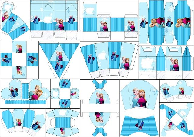 Frozen Christmas in Blue: Free Printable Boxes.