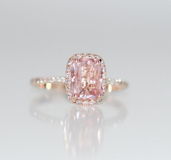 Padparadscha Sapphire Ring 14k Rose Gold Diamond by EidelPrecious