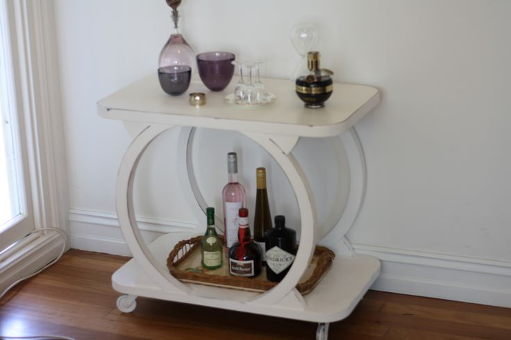 Art Deco drinks trolley transformed with chalk paint and wax. On castors. This is a unique piece of furniture which will suit both modern and art deco styles. For sale $750