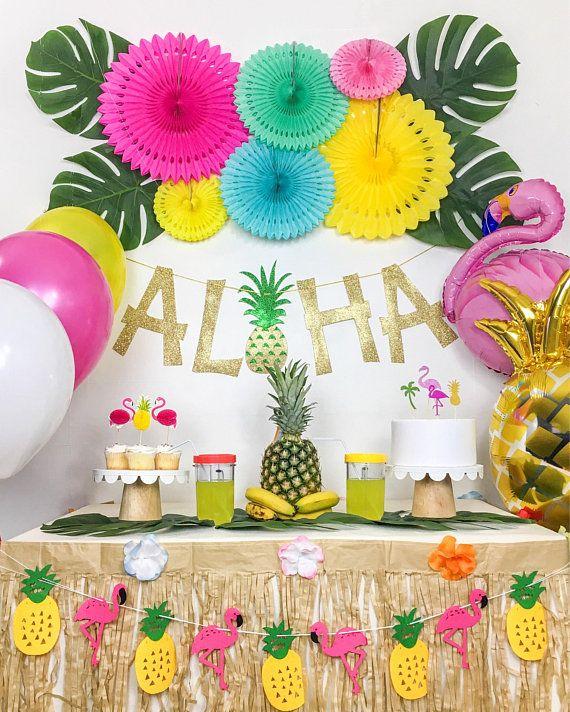 Details About Tropical Luau Hawaiian Summer Flamingo Pineapple