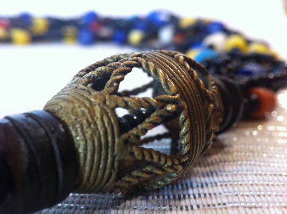 African Bronze Glass & Wood Necklace by monuandmonu on Etsy